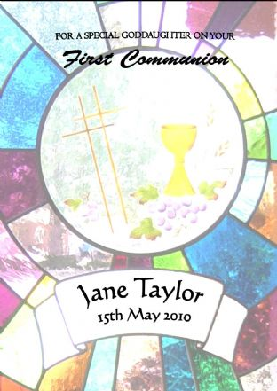 Personalised Stained Glass Window Communion Card